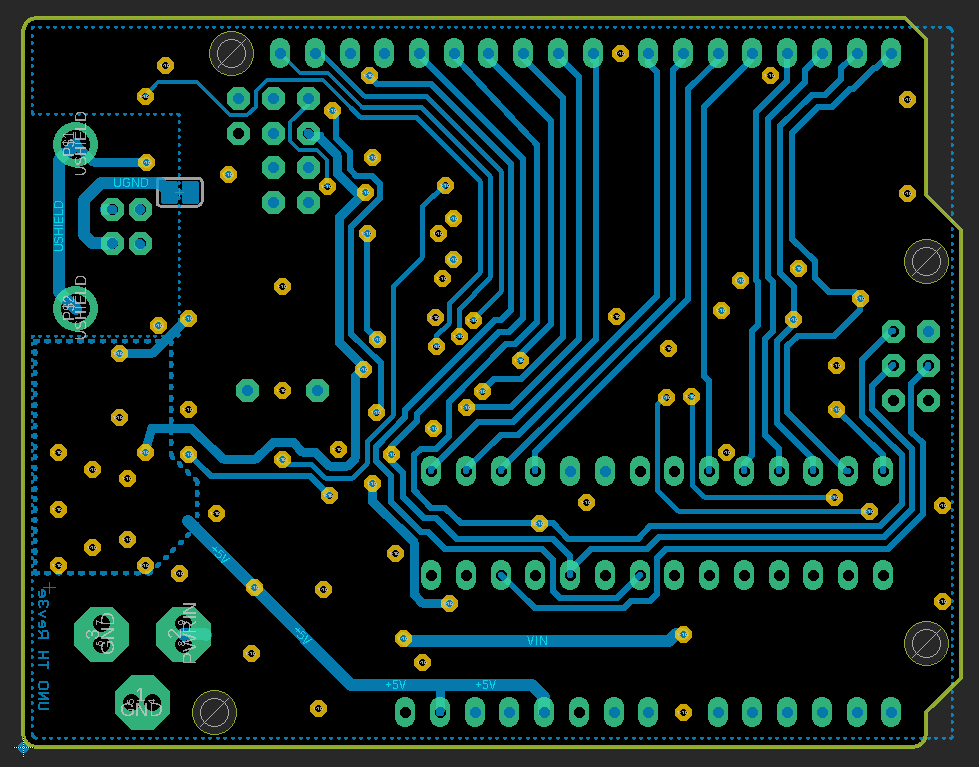 Arduino Uno Layout Bottom